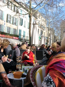 There are 12  cafés to choose from in the square