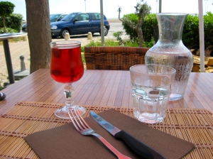 View from the table with the sea in background
