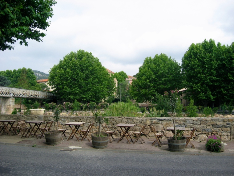 Seating across the road just above the River Berre